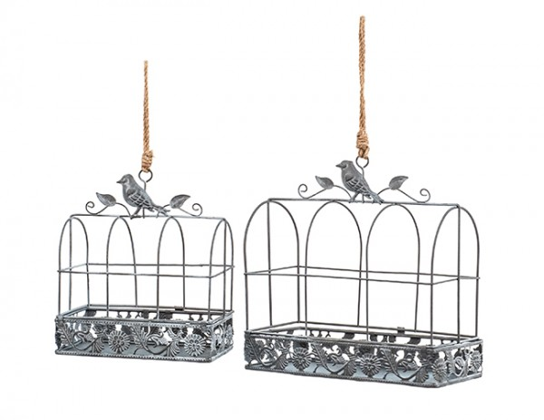 filigrane Blumenampel, Pflanzkäfig mit Vogel grau, 2er Set: Breite 18cm / 24cm