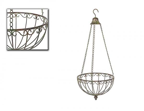 Hängekorb Metall antik grün Ø 30cm Blumenampel, Deko-Korb, Shabby, Landhaus