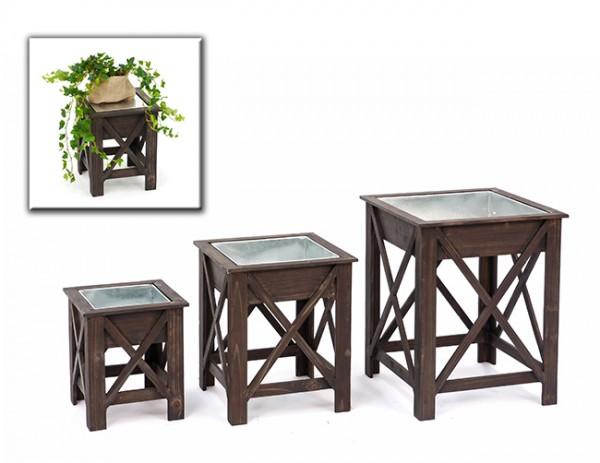 Pflanztisch Casal Holz/Metall 3er Set, Blumentisch, Blumenhocker