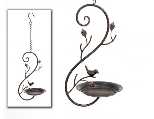 Schöne Vogel-Futterstation zum Hängen, Metall, filigran, Vogelschale