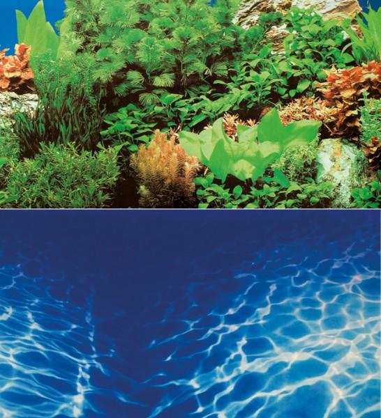 0,6m Rückwand-Folie 30cm hoch Pflanzen / Marin Blue #Nr. 23