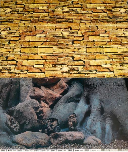 1m Rückwand-Folie 50cm hoch Steinwand / Wurzel #Nr.21